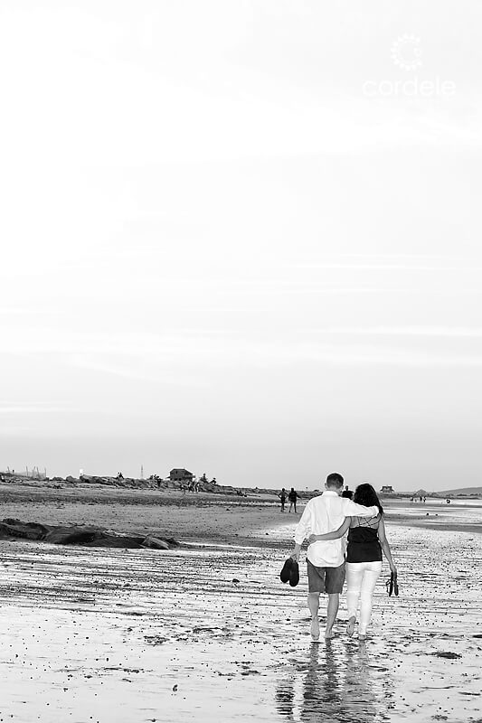 black and white Engagement Photos on plymouth beach