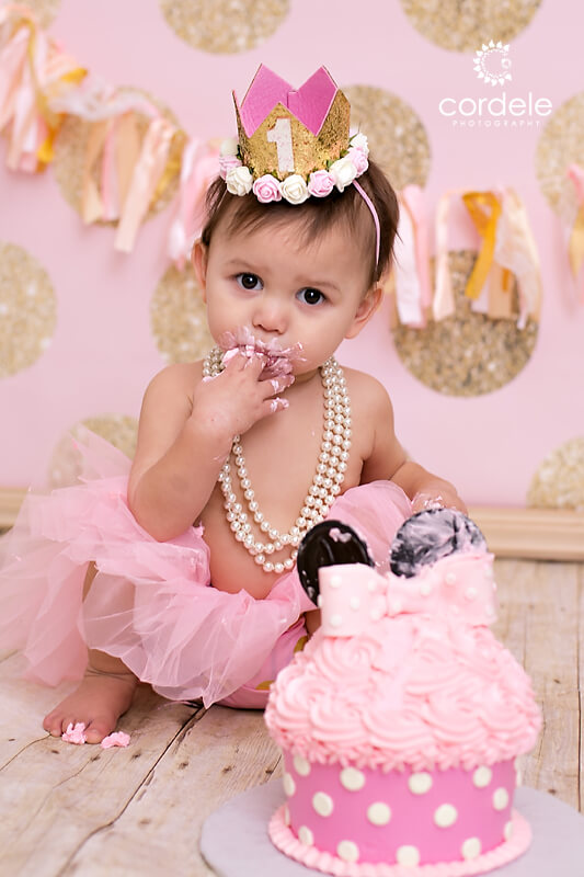First Birthday cake smash portrait session