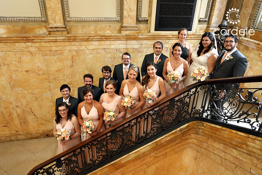 Bridal party on steps of the providence public library inside