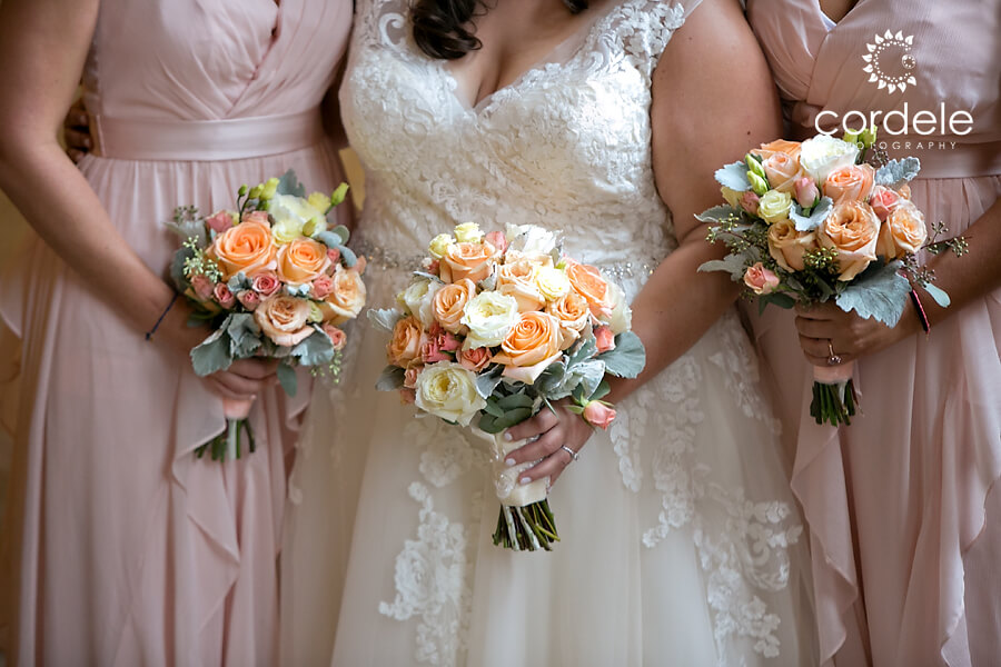 Peach and white rose flowers