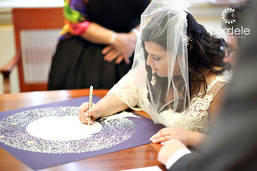 Bride signs a Jewish wedding document