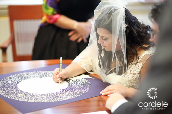 Bride signs a marriage contract
