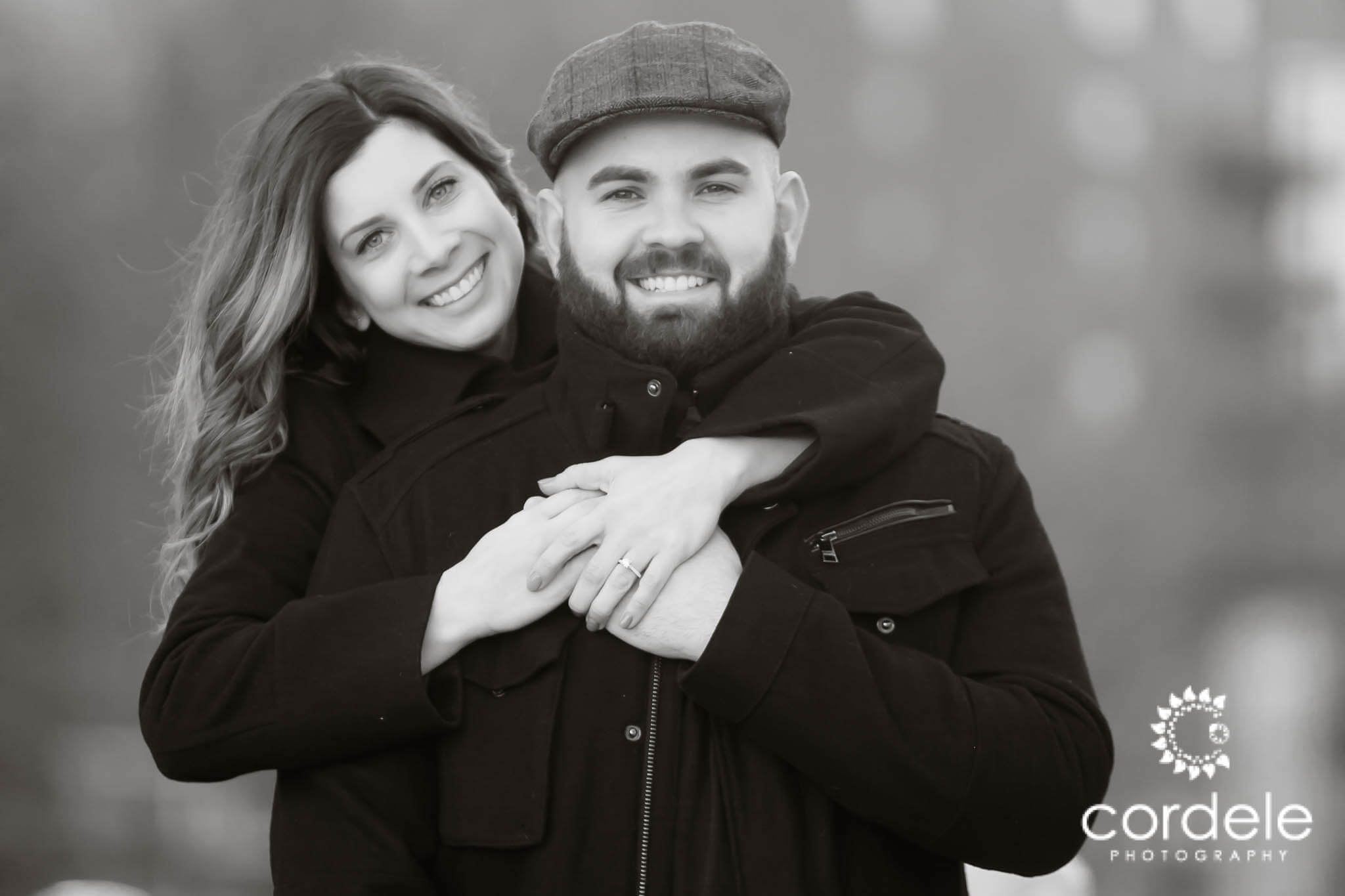 Boston Black and White Photo of engaged couple